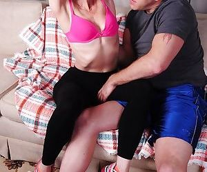 Mature mom Betty Blaze gets seduced by her younger lover on a couch