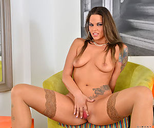 Tattooed slut in stockings spreading shaved pussy & hot ass in high heels