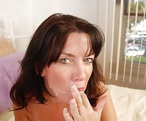 Fatty brunette Scarlette is swallowing the load after good sex