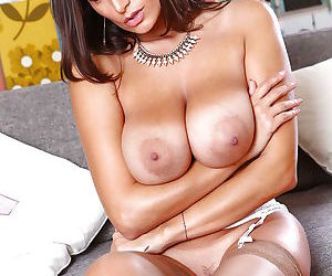 Mommy Sensual Jane poses in her white lingerie with naked tits