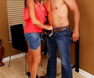 Busty older mom Lexy Cougar sucking cock in high heels and denim skirt