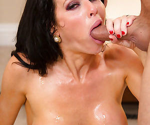 Steaming hot brunette slut blows and fucks her office mates hard cock
