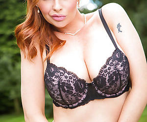 Naughty mom Tarra White removing skirt and blouse in the woods