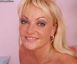 Chubby mature slut in nylons enjoys anal fucking and tastes some jizz