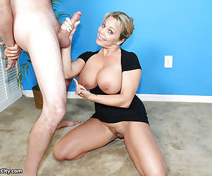 Horny mature with giant boobs seduces younger guys and sucks his cock