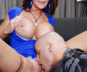 Mature slut fucks a younger guy for jizz on her tongue and huge round boobs