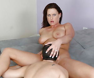 Mom brunette Michele Raven sucks this cock and fucks in her snatch