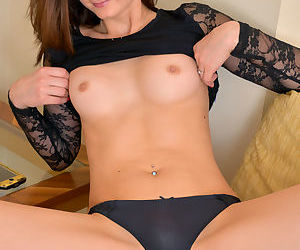 Hot mom in black panties undresses to spread bald twat & sexy ass in bare feet
