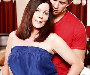 Hot mature American pornstar Magdalene St Michaels clothed in long dress