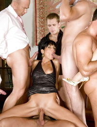 Seductive european pornstars are into hardcore groupsex with horny men