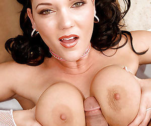 Brunette mom Claire Dames tit fucking cock outdoors with nice melons