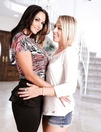 Lesbians Ava Addams & Zoey Monroe undress and take care of each others pussy