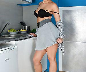 Leggy mom Regina showing her hairy up skirt vagina in high heels