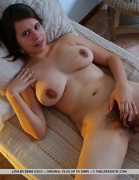 Big nippled girlfriend Litia masturbating solo with her hairy pussy spread