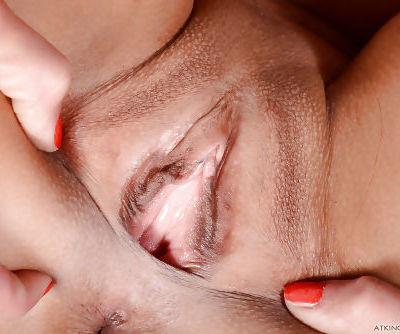 Brunette Latina solo girl Khloe Kash fingering anus while spreading pussy