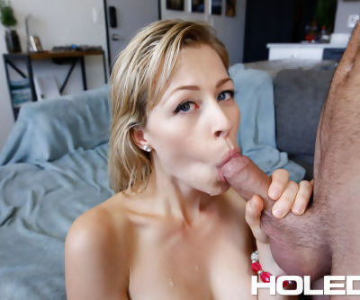 Blonde chick Zoey Monroe gets ass fucked by a large cock before giving head