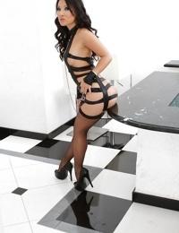 Tempting asian babe in stockings Asa Akira showcasing her gorgeous curves
