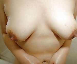 Sassy asian MILF with hairy cooter Haruka Fukuda taking shower