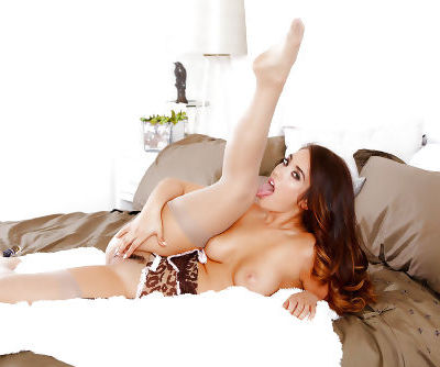 Asian babe Eva Lovia baring nice ass while masturbating in stockings