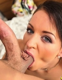 Naked amateur Adele Sunshine takes her guys balls in her mouth during oral sex