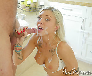 Busty blonde female Karson Kennedy bangs her guy with her bra pulled down