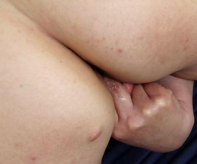 Busty older woman Sandra Green strips off lingerie to finger fuck vagina