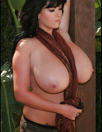Gracious babe Rachel Aldana shows her huge melons outdoor