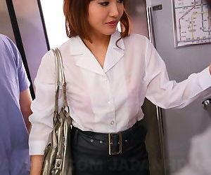 Sexy Asian traveler Mami Asakura joins mile high club in creampie threesome