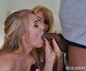 Mature MILFs Rachael Cavalli & Erica Lauren takes turns sucking a big dick