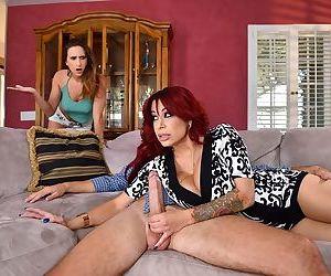 Mature redhead Alyssa Lynn is caught blowing her stepdaughters boyfriend