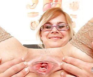 Fat nurse Karen taking off panties and getting naughty on camera
