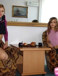 Sexy young teen girls posing seductively non nude flashing hot panty upskirt