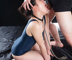 Gorgeous submissive Asian girl is on her knees getting face fucked