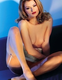 Beautiful blonde female entertains both of her male lovers at the same time