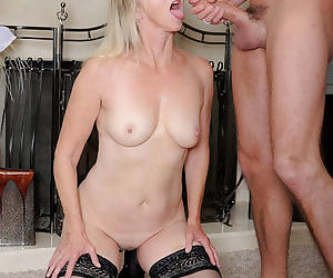 Older lady Ann Brady greets her man after work with a blowjob and a fuck