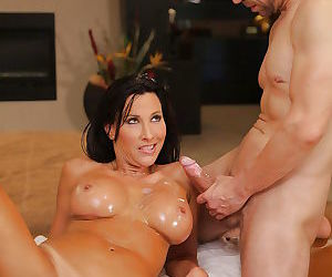 Busty older pornstar Lezley Zen deepthroats a cock after tit fucking