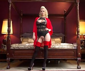 Blonde mistress Cherry Torn trots out her personal man slave in sexy attire