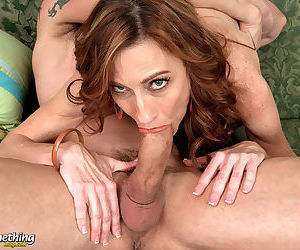 Skinny older lady Betty Blaze sucks a cock in the nude for a mouthful of jizz