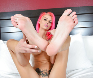 Skinny woman Staci Simpson removes dress to bare tattoos and tiny tits