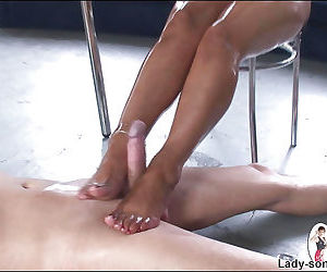 Curvaceous foot fetish lady gets oiled up and pleases a hard dick