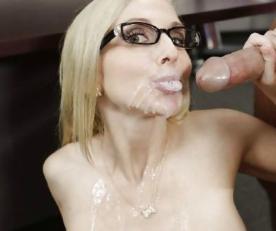 Buxom blonde teacher Christie Stevens has her pussy licked out in class