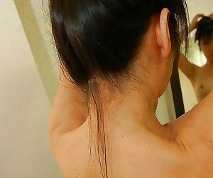 Asian gal with hard nipples Harue Nomura taking shower and bath