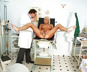Tiny tits blondie Eliss Fire is being checked by her local doctor