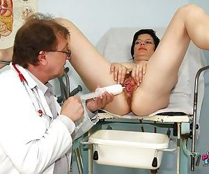 OBGYN visit for this mature gets dirty with asshole & hairy cunt play
