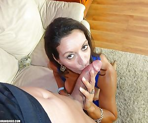Big busted mature brunette sucking and jerking off a big cock