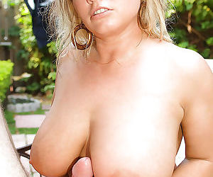 Busty blonde mom Rachel Love delivering bj and handjob outdoors