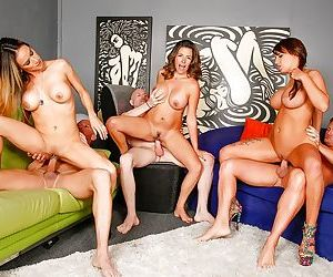 Hot moms Danica Dillon and Nadia Styles suck and fuck dick in foursome