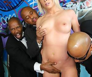 Blonde slut Brittany Angel pisses off her parents by doing a bukkake with BBC