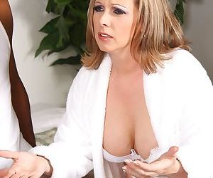 Blonde cougar Keira Kensley gets two black peckers to play around with