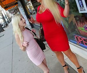 Petite babe Piper Perri and her mom enjoy a big raging boner together